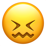 How Confounded Face emoji looks on Apple.