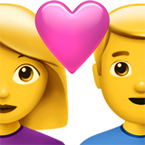 How Couple with Heart: Woman, Man emoji looks on Apple.