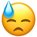 How Downcast Face with Sweat emoji looks on Apple.