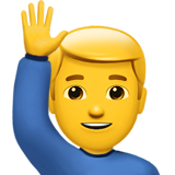 How Man Raising Hand emoji looks on Apple.