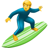 How Man Surfing emoji looks on Apple.