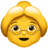 How Old Woman emoji looks on Apple.