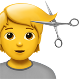 How Person Getting Haircut emoji looks on Apple.