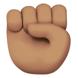 How Raised Fist: Medium Skin Tone emoji looks on Apple.
