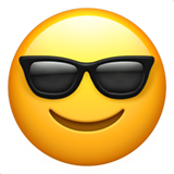 How Smiling Face with Sunglasses emoji looks on Apple.
