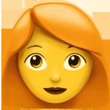 A quoi ressemblent les emoji Femme: cheveux roux sur Apple.