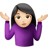 How Woman Shrugging: Light Skin Tone emoji looks on Apple.