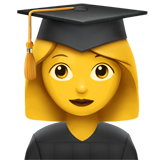 How Woman Student emoji looks on Apple.