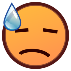 How Downcast Face with Sweat emoji looks on Emojidex.