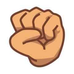 How Raised Fist: Medium Skin Tone emoji looks on Emojidex.