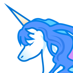 How Unicorn emoji looks on Emojidex.