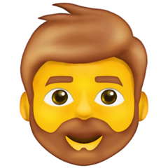 How Man: Beard emoji looks on Emojipedia.