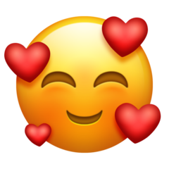 How Smiling Face with Hearts emoji looks on Emojipedia.