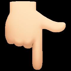 Dorso de mano con índice hacia abajo: tono de piel claro Emoji 👇🏻