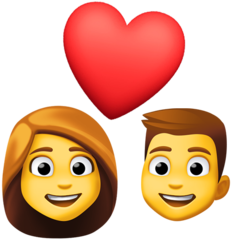 How Couple with Heart: Woman, Man emoji looks on Facebook.