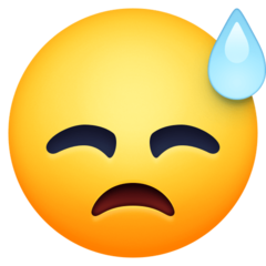 How Downcast Face with Sweat emoji looks on Facebook.
