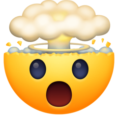 How Exploding Head emoji looks on Facebook.