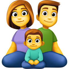 How Family: Man, Woman, Boy emoji looks on Facebook.