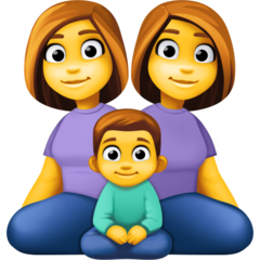 How Family: Woman, Woman, Boy emoji looks on Facebook.