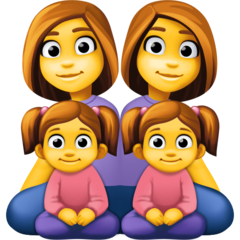 How Family: Woman, Woman, Girl, Girl emoji looks on Facebook.