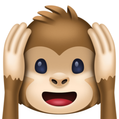 How Hear-No-Evil Monkey emoji looks on Facebook.