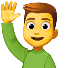 How Man Raising Hand emoji looks on Facebook.