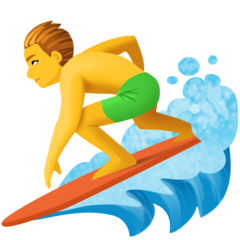 How Man Surfing emoji looks on Facebook.