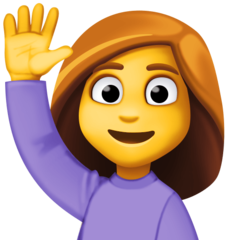 How Person Raising Hand emoji looks on Facebook.