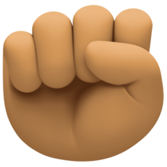 How Raised Fist: Medium Skin Tone emoji looks on Facebook.