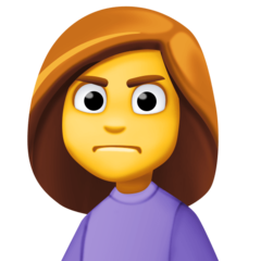 How Woman Frowning emoji looks on Facebook.