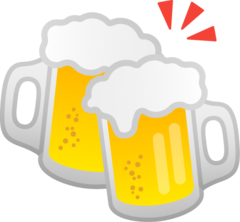 How Clinking Beer Mugs emoji looks on Google.