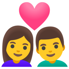 How Couple with Heart: Woman, Man emoji looks on Google.