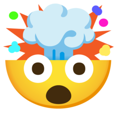 How Exploding Head emoji looks on Google.