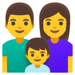 How Family: Man, Woman, Boy emoji looks on Google.