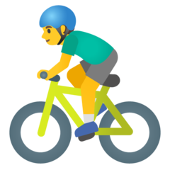 How Man Biking emoji looks on Google.