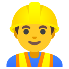 How Man Construction Worker emoji looks on Google.