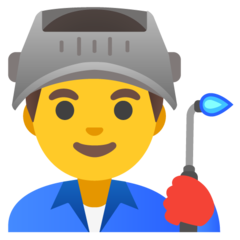 How Man Factory Worker emoji looks on Google.