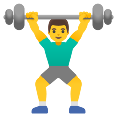 How Man Lifting Weights emoji looks on Google.