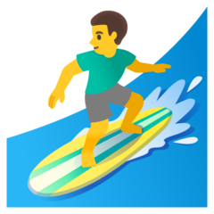 How Man Surfing emoji looks on Google.