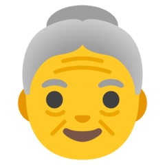 How Old Woman emoji looks on Google.