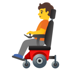 How Person in Motorized Wheelchair emoji looks on Google.
