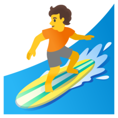 How Person Surfing emoji looks on Google.