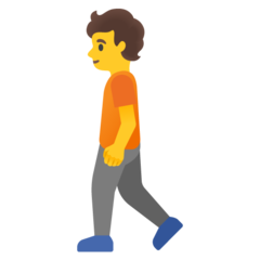 How Person Walking emoji looks on Google.