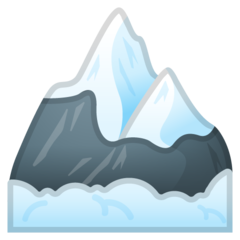 How Snow-Capped Mountain emoji looks on Google.