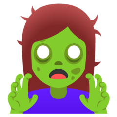 How Woman Zombie emoji looks on Google.