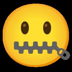 وجه بفم مقفل رمز تعبيري