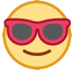 How Smiling Face with Sunglasses emoji looks on Htc.