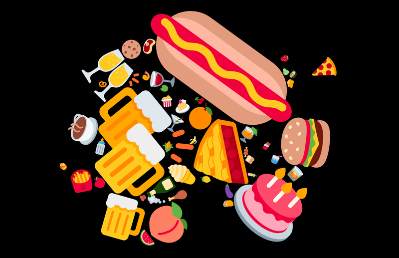 4th July food Emoji Cloud