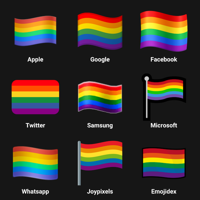 Rainbow Flag emoji on different platforms