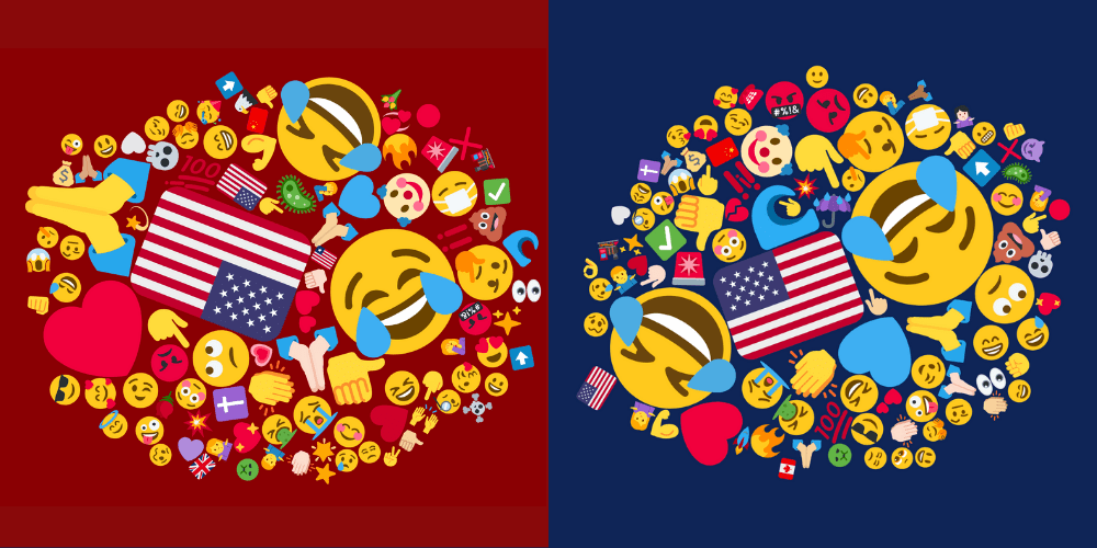 US election 2020 Reps vs Dems emojicloud